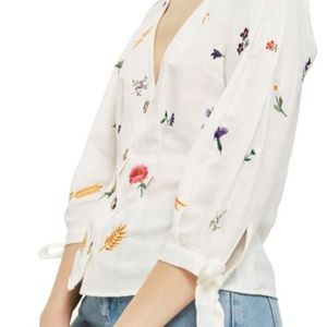 Topshop Field Embroidered Floral Blouse Size 8